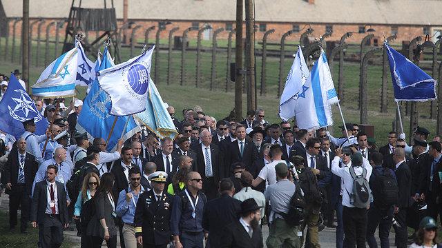 ראובן ריבלין עם נשיא פולין ב אושוויץ יום השואה מצעד החיים (צילום: EPA)
