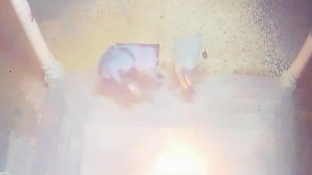 הוצתה דלת מסגד בשכם (צילום: זכריא סדה, ארגון רבנים לזכויות אדם)