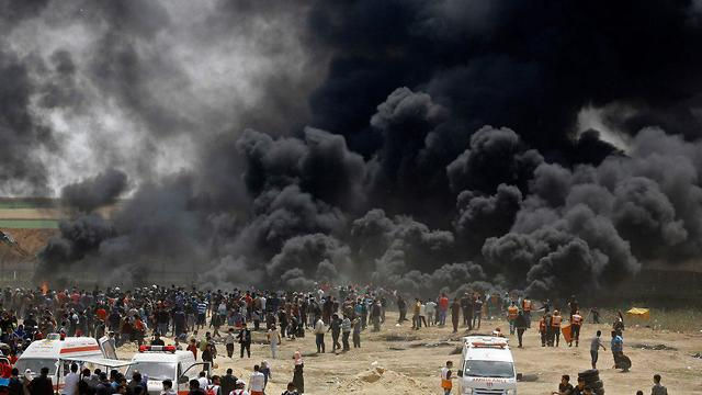 Protest on Gaza border (Photo: AFP)