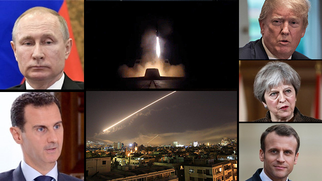 Left: Russian President Putin and Syrian President Assad; center: images from Western attack on Syria; right: US President Trump, British PM May and French President Macron (Photos: AP, EPA, MCT, AFP, Reuters)