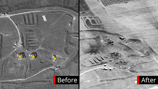 The Him Shinshar chemical weapons storage site before and after the attack (Ynet)