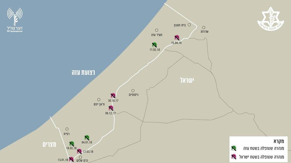 חשיפת מנהרה במרחב ג'באליה (צילום: דובר צה