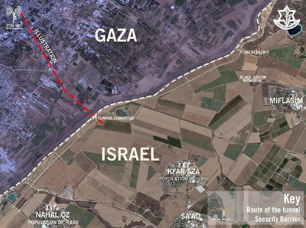 Aerial photograph of the Hamas tunnel destroyed (Photo: IDF Spokesperson's Unit)