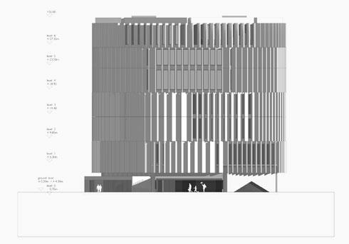''לוברים'' מבטון חשוף יעניקו מראה מונומנטלי אטום, אך מבפנים הם יאפשרו מבט החוצה לעיר (תוכנית: אפרת – קובלסקי אדריכלים ו- HEIDE & VON BECKERATH Architects)