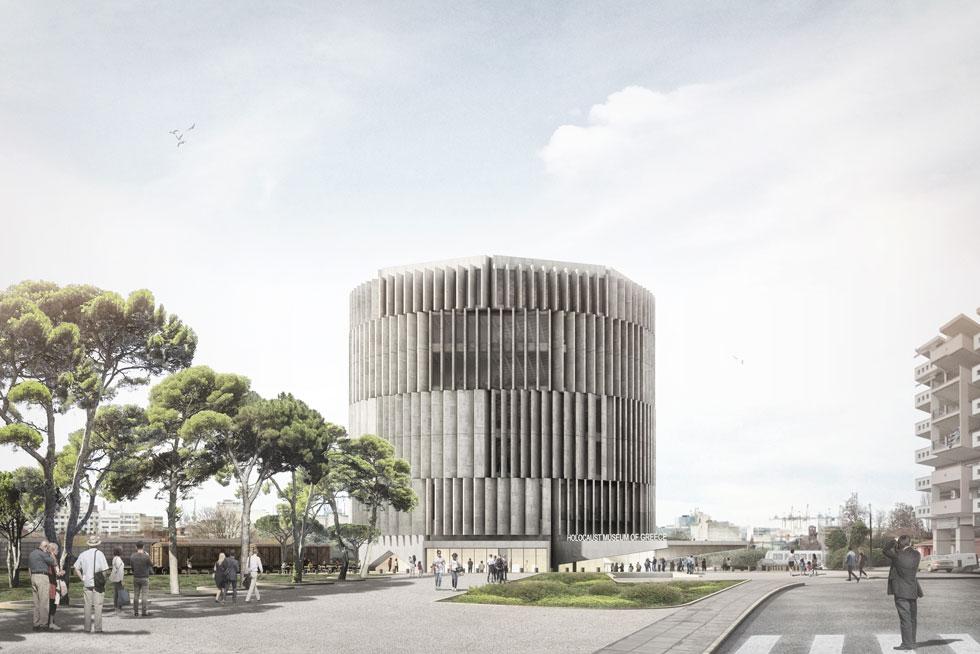 הצורניות של המוזיאון, שיתנשא לגובה 6 קומות, נובעת מהמונומנט הבולט של העיר - ''המגדל הלבן'' העותמאני. ''אנחנו בדיאלוג עם המגדל הלבן'', מסבירה קובלסקי (הדמיה: אפרת – קובלסקי אדריכלים ו- HEIDE & VON BECKERATH Architects)