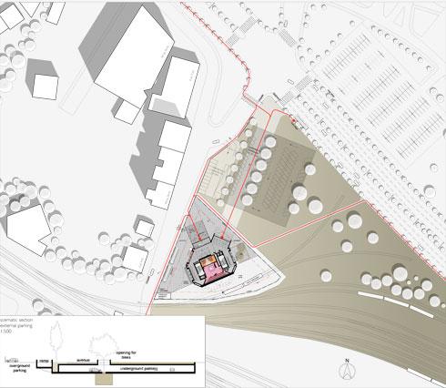 המיקום בעיר. משתלב בטיילת המתוכננת לאורך חופי סלוניקי (תוכנית: אפרת – קובלסקי אדריכלים ו- HEIDE & VON BECKERATH Architects)