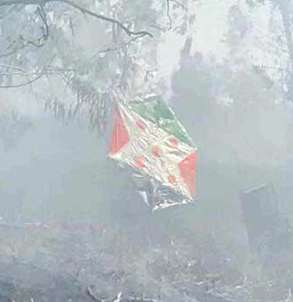 Воздушный змей из Газы с воспламеняющимся веществом