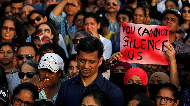הודו הפגנות מחאה אונס נשים ילדה בת 8 (צילום: רויטרס)
