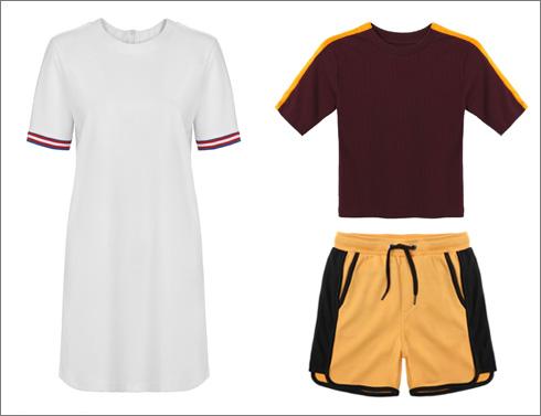 חולצת ריב לנשים, 69.90 שקל; מכנסיים קצרים לגברים, 89 שקל; שמלה לבנה ספורטיבית, 79.90 שקל  (צילום: ניר יפה)