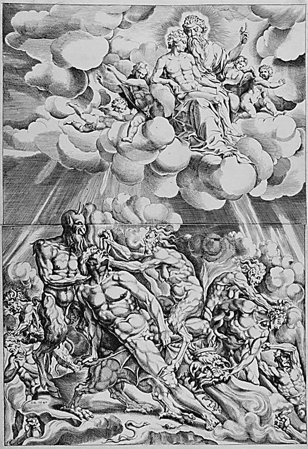 """האיש לזרוס רואה נשמות בשמים,  מתוך """"הברית החדשה"""" (קורנל בוס, הולנד 1547)"""