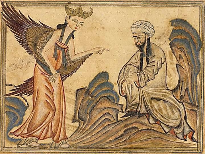 המלאך גבריאל מתגלה לראשונה למוחמד. פרס, 1307