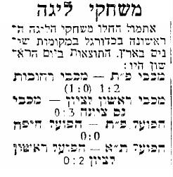 ידיעה בעיתון על המשחקים הראשונים בליגת הכדורגל הישראלית (מתוך ארכיון