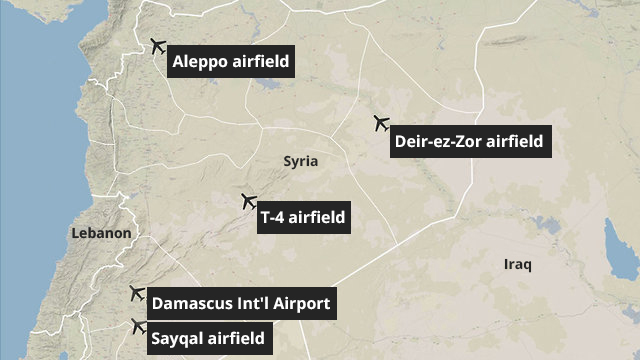 Map of the Iranian bases in Syria