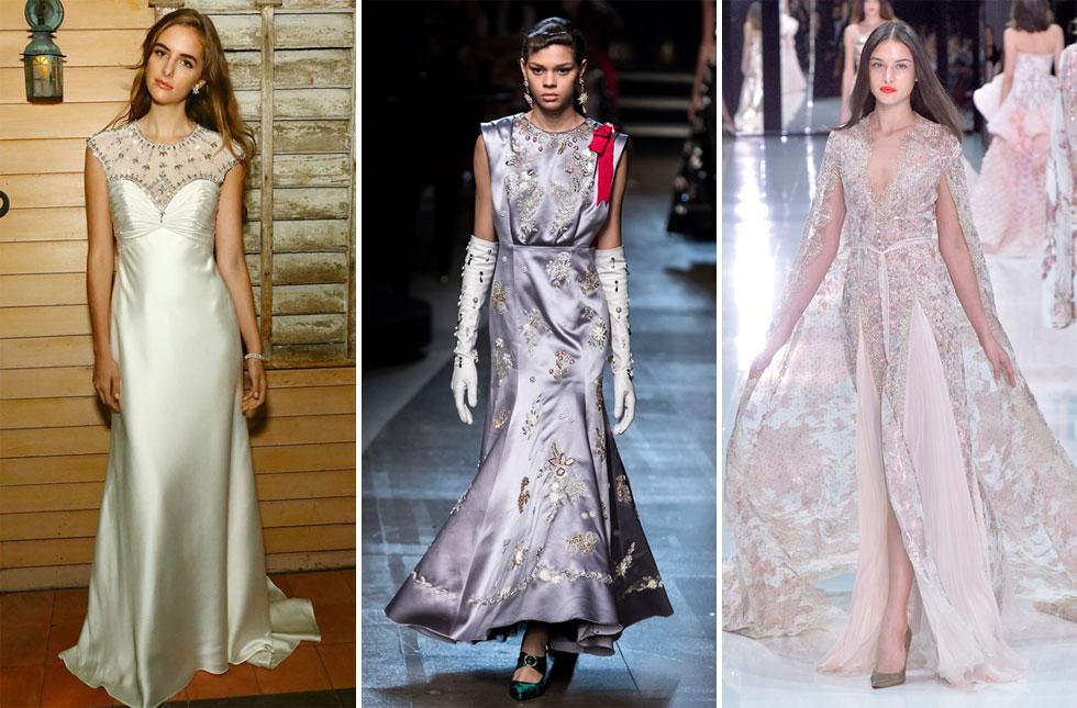 בין המעצבים המובילים בלוח ההימורים, מימין: שמלות של ראלף אנד רוסו, ארדם וג'ני פקהאם (צילום: Astrid Stawiarz/GettyimagesIL, AP)