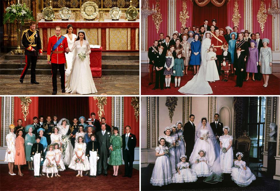 תמשיך את המסורת של בנות המלוכה האחרות שנכנסו בשערי הארמון? משמאל למעלה, עם כיוון השעון: שמלות הכלה של קייט מידלטון, הנסיכה אן, הנסיכה מרגרט והנסיכה דיאנה (צילום: AP, GettyimagesIL)