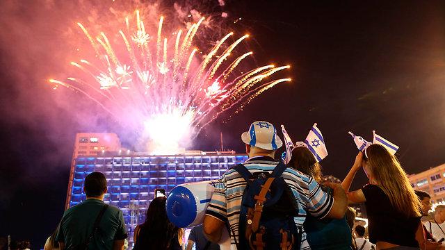 Independence Day revelers in Tel Aviv, 2018