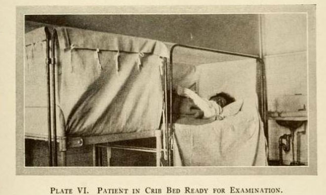 """""""עריסות הלידה"""" ששימשו עבור הנשים. לפעמים הן היו רדומות בתוכן שעות ארוכות וגם ימים - עד שהתחילה הלידה (צילום: מתוך הספר Scopolamine-Morphine Anasesthesia)"""