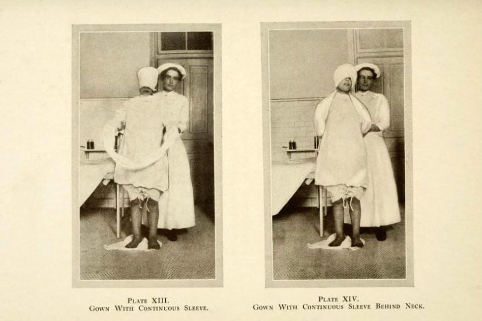 תמונות מאותה תקופה, בהן אחות מכינה את היולדת ללידה, תוך קשירה של ידיה בתוך שרוולים ארוכים, כדי שכאשר יגיעו הכאבים היא לא תזיק לעצמה או לצוות הרפואי (צילום: מתוך הספר Scopolamine-Morphine Anasesthesia)