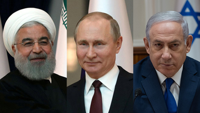 Left to right: Iran's President Hassan Rouhani, Russia's Vladimir Putin, and PM Benjamin Netanyahu