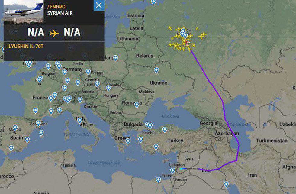 מסלול טיסה מטוס נוסעים איליושין Il-62 חיל האוויר הרוסי ()