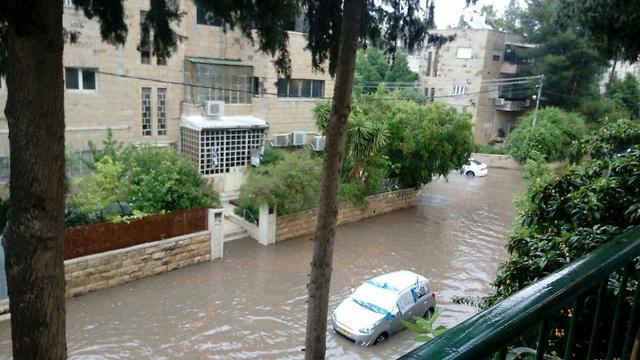 Затопленная улица в Иерусалиме