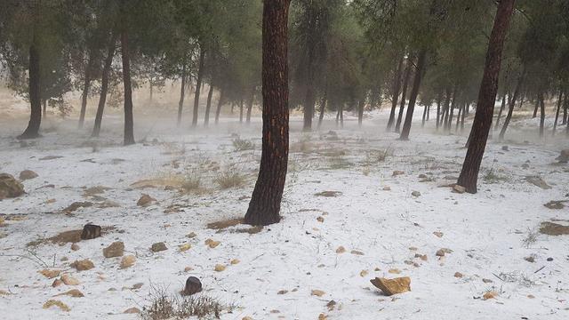 Hail in Kibbutz Lahav