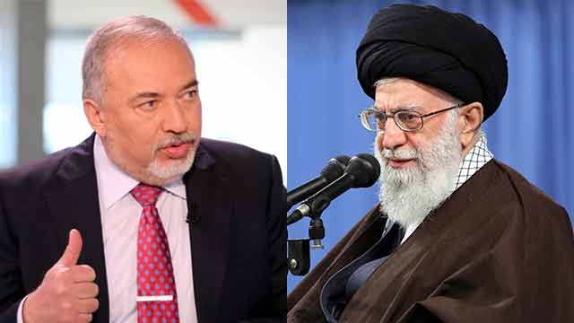 Defense Minister Lieberman and Iran's Supreme Leader Ali Khamenei (Photo: Avi Moalem, AP)