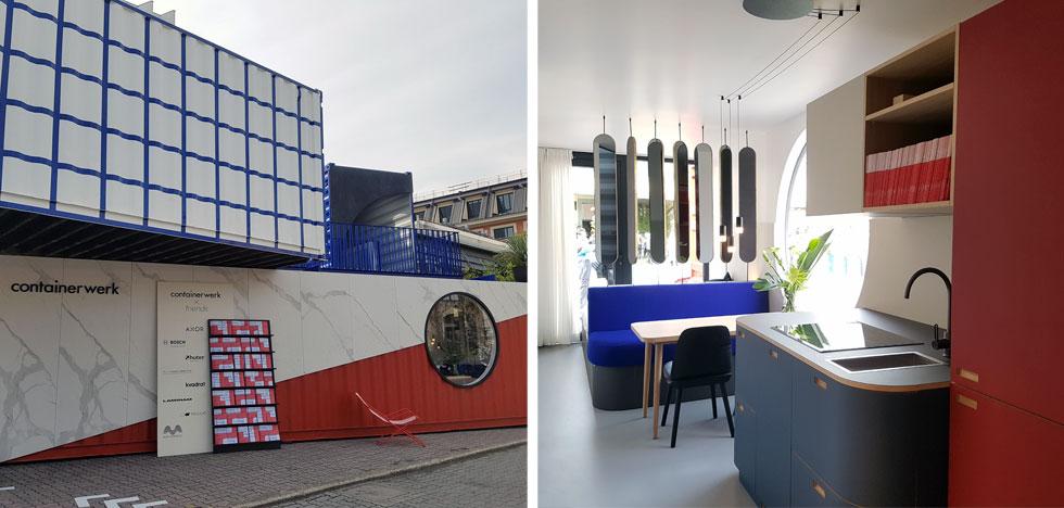 תשומת לב משכו הקונטיינרים של החברה הגרמנית containerwerk (בתמונה מימין אפשר לראות את העיצוב העדכני של פנים הקונטיינר). בבסיס המוצר עומד פטנט שמבודד את המכולות והופך אותן מתאימות למגורים - העיצוב הוא משני. בהמבורג כבר נבנה הפרויקט העירוני הראשון שמבוסס על המכולות המבודדות של החברה (צילום: ענת ציגלמן)