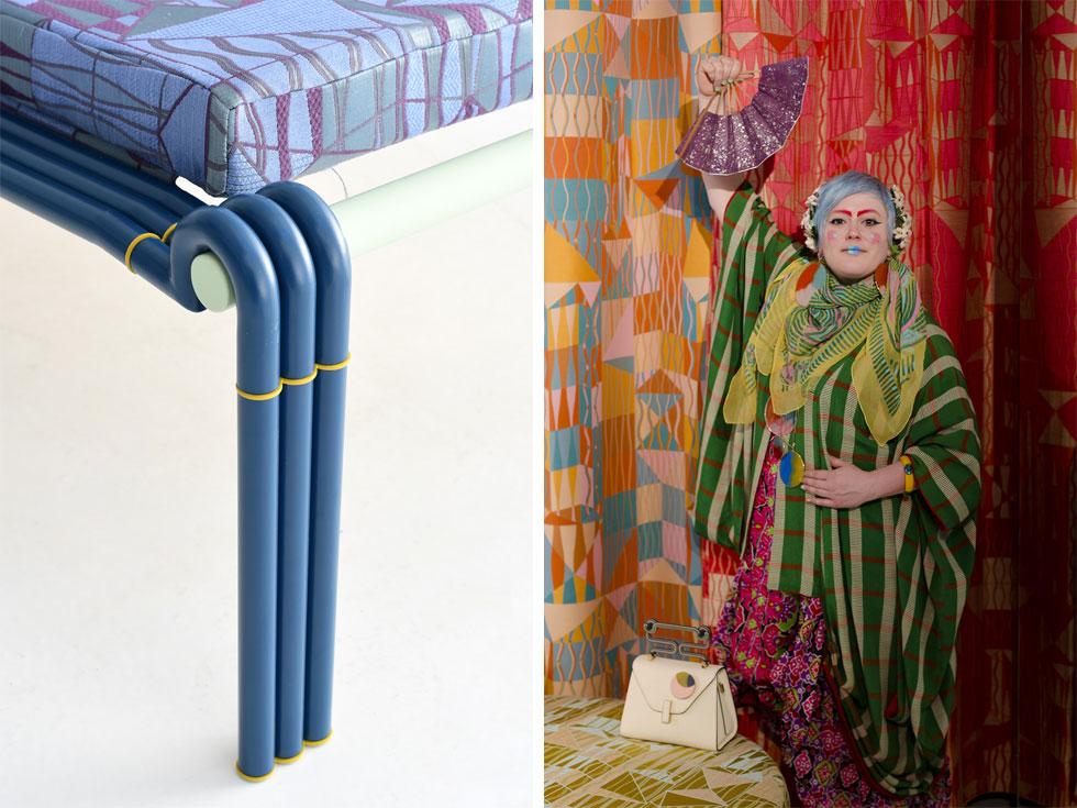 באולם התצוגה של ''מורוסו'' במרכז העיר הציגה החברה שיתוף פעולה עם יצרנית הטקסטיל הוותיקה ''לימונטה'': קו בדים של המעצבת הבריטית בית'ן לורה ווד (בתמונה מימין), בהשראת מסעותיה למקסיקו. בתמונה משמאל: מיטת יום למנוחה, רהיט בודד בקולקציה של בדים