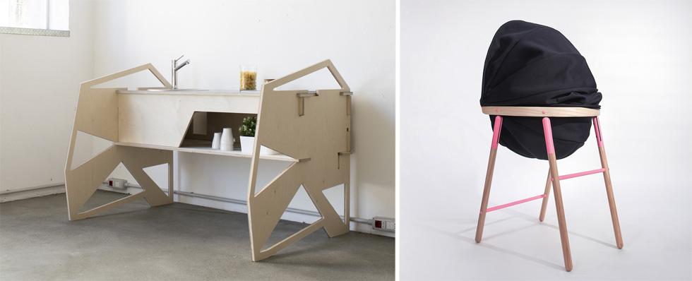 פרסי ה''סלונה סטליטה'' - הביתן ביריד שבו הציגו מעצבים צעירים מרחבי העולם - ניתן ל''מטבח קל'' (בתמונה משמאל) שעיצב סטפנו וסקונצ'לו האיטלקי מ-7 אלמנטים מתחברים, ולכיסא אוכל לילדים, שמתחשב בצרכים סנסוריים (מימין), של tink things הקרואטים (צילום: באדיבות Salone del Mobile.Milano)
