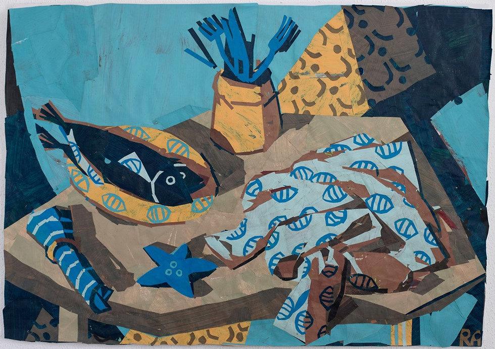 צבע טרי  (רותם עמיצור, קולאז' עם נייר צבוע ביד. צילום: ליבי קסל)