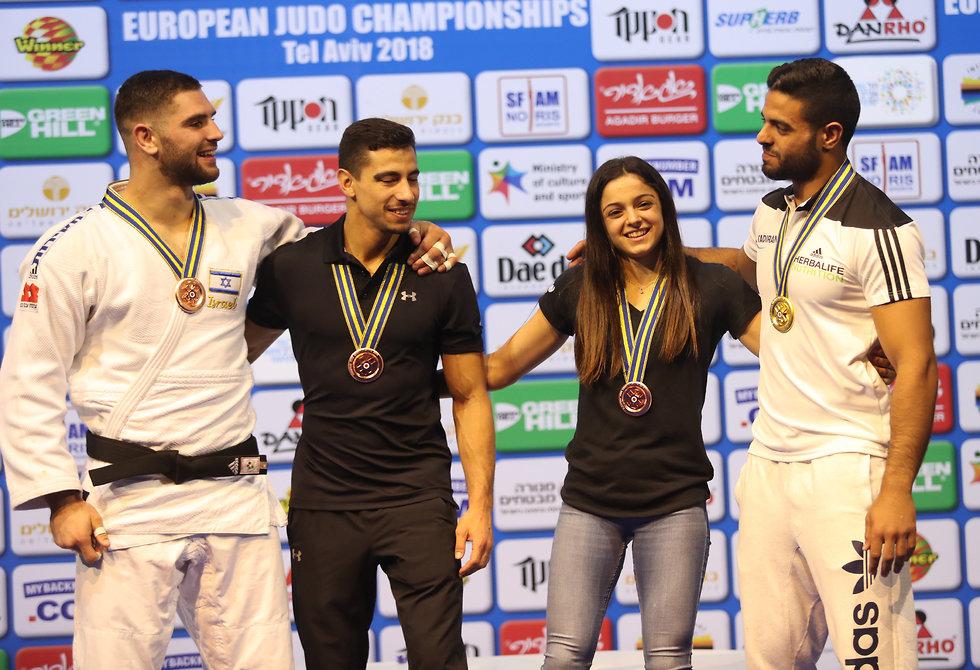ארבעת המדליסטים הישראלים באליפות אירופה (צילום: אורן אהרוני)