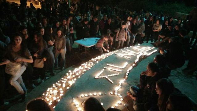 בית הספר רבין מזכרת בתיה אמפיפארק מתייחדים לזכר צור אלפי נספים ב אסון נחל צפית (צילום: משי בן עמי)