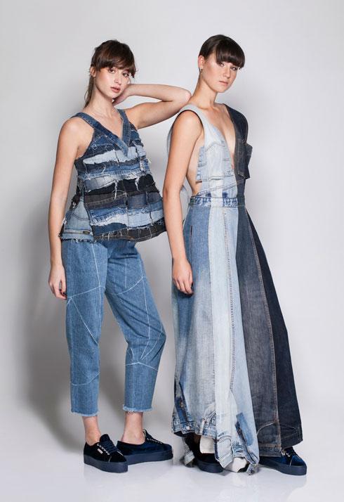 עיצובים של הסטודנטית ליה פתאל מתוך שיתוף פעולה של רנואר והמחלקה לעיצוב אופנה בשנקר, לרגל יום הקיימות הבינלאומי (צילום: אחיקם בן-יוסף)