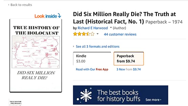 The Holocaust denying book 'Did six million Jews really die?' is being sold on Amazon (Photo: Amazon)