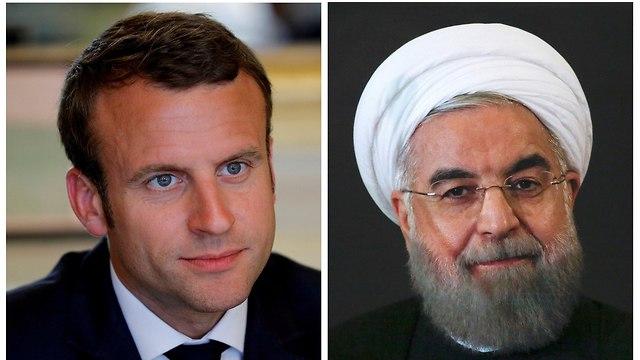 נשיא צרפת עמנואל מקרון נשיא איראן חסן רוחאני (צילום: רויטרס)