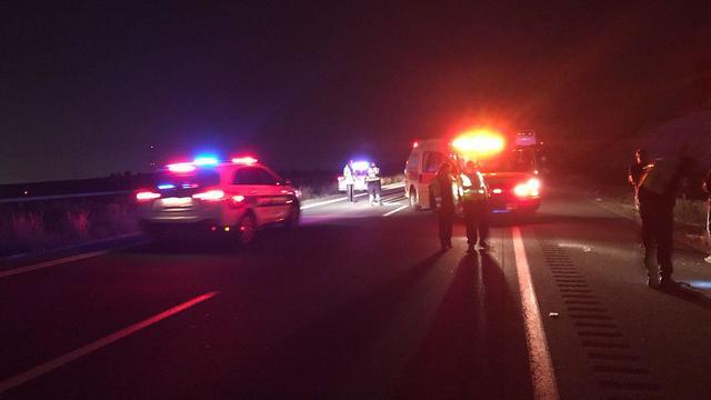 תאונה תאונת דרכים כביש 6 דרומית למחלף קריית גת אדם נפגע על ידי משאית הרוג (צילום:תיעוד מבצעי מד