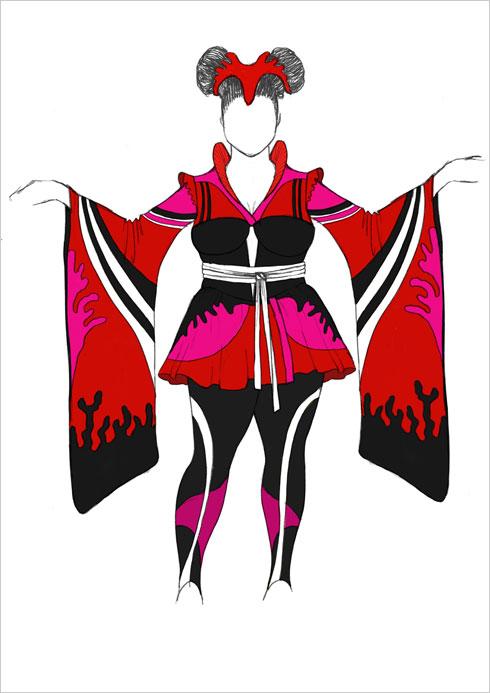 השמלה באורך מיני חושפת רגליים עם שרוולים רחבים ומעליה מחוך שחור והדוק משובץ בזרקוני סברובסקי מנצנצים. הסקיצה של מאור צבר (איור: מאור צבר)
