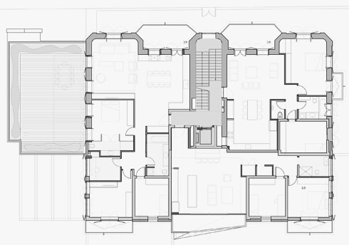 תוכנית הקומה הראשונה (תוכניות: יניב פרדו אדריכלים)