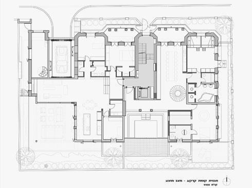 תוכנית קומת הקרקע (תוכניות: יניב פרדו אדריכלים)