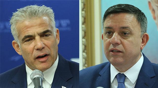 Lapid and Gabbay slam Netanyahu  (Photo: Alex Kolomoisky)