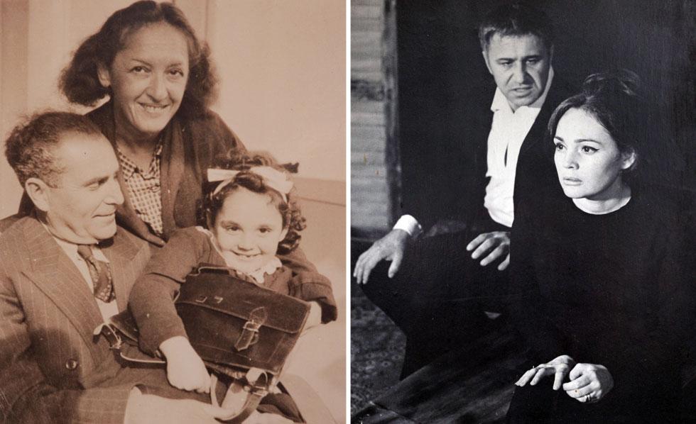 """פרידלנד ב-1969, עם בעלה לשעבר מישה אשרוב בהצגה """"פרח, הסכין והבושם"""" (מימין), ובילדותה, עם הוריה חנה'לה הנדלר וצבי פרידלנד (צילום רפרודוקציה: יובל חן)"""