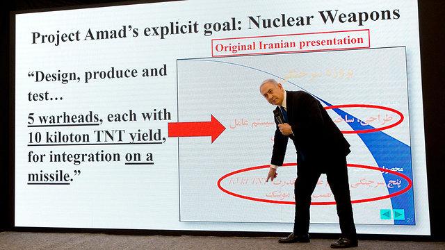 Le Premier ministre Netanyahou révélant des documents provenant des archives nucléaires iraniennes (Photo: AP)