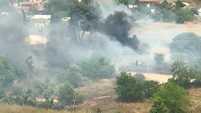 שריפה בכפר מעש (צילום: עידן יחיאל)