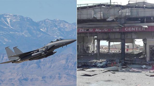 Israeli F-15 and the aftermath of the attack (Photo: Boeing)