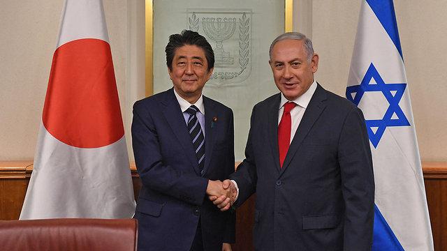 PMs Netanyahu and Abe in Jerusalem, May 2018 (Photo: GPO) (Photo: GPO)