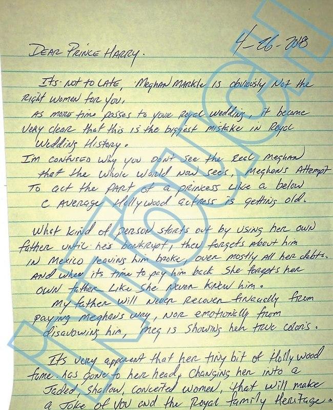 המכתב שהעלה את הטינופת המשפחתית לרמה חדשה (צילום: מגזין In Touch)