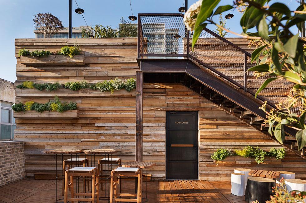 בין חלקי הגג, בשני מפלסים שונים, מפריד קיר עץ עם אדניות תבלינים (צילום: אסף פינצ׳וק)