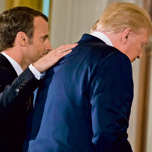 טראמפ עם נשיא צרפת מקרון. גם הוא וגם מרקל נכשלו במשימתם