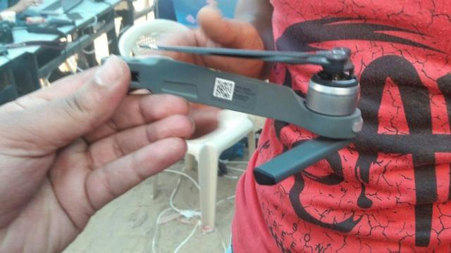 Part of one of the drones downed by the rioters
